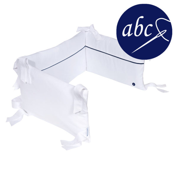 White-Dark Blue Cot Bumper