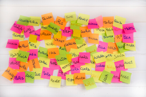 Women's names written on small pieces of paper of different colors