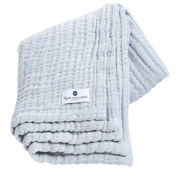 4 in 1 Large, Light Blue Muslin Baby Blanket