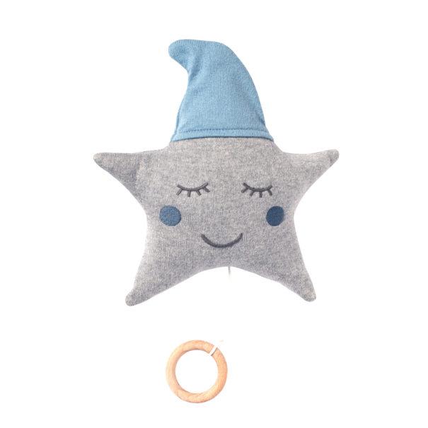 Spieluhr Stern blau grau Stoff Baby