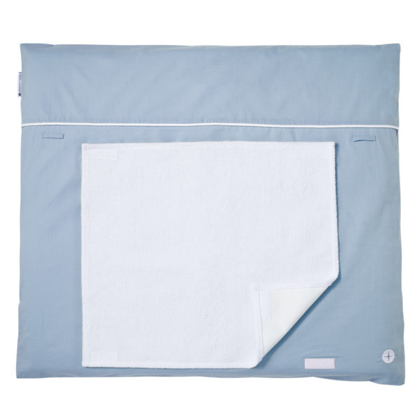 Changing mat blue grey towel