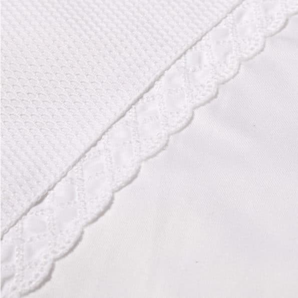 Baby bed linen white lace frills satin stroller