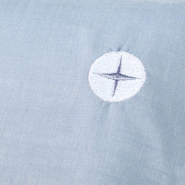 Wickelauflage Blau Grau detail Logo schmal