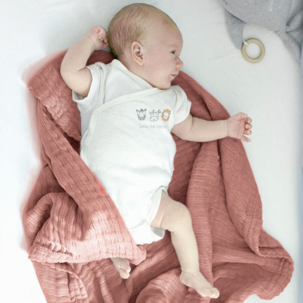 Babydecek Musselin Baumwolle Puckdecke Spucktuch rot, kupfer, rost