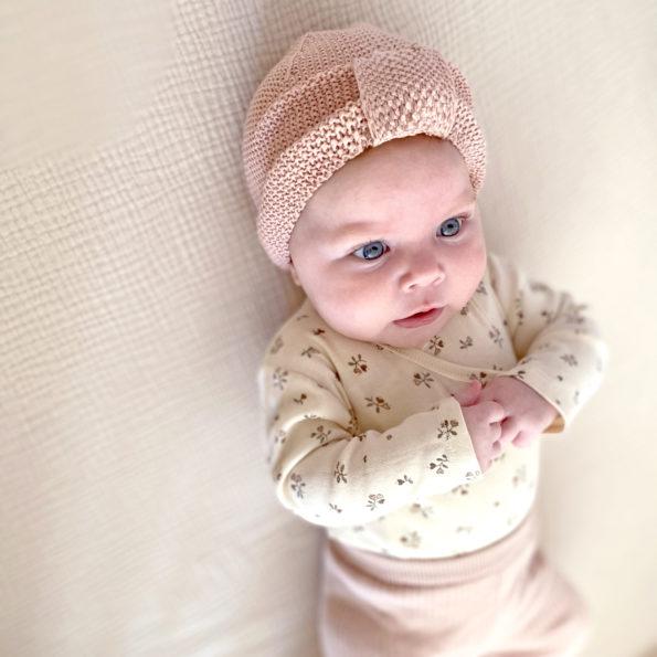 3 Baby Turban Mütze Strick Altrosa Mädchen