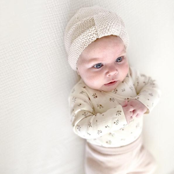 3 Baby Turban Mütze Strick Natur Mädchen