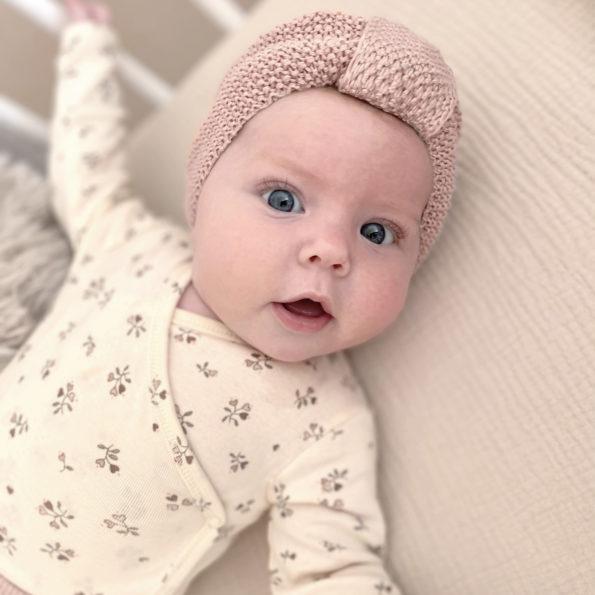 4 Baby Turban Mütze Strick Altrosa Baumwolle