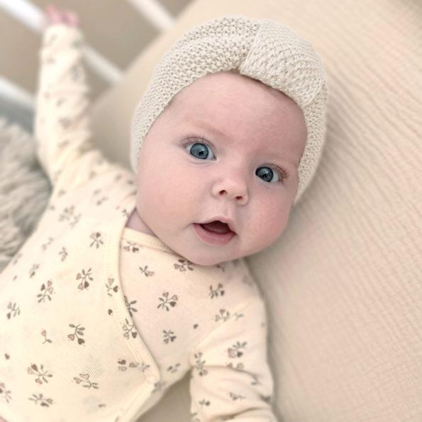 4 Baby Turban Mütze Strick Natur Baumwolle
