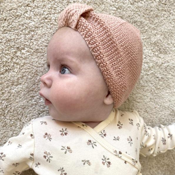 6 Baby Turban Mütze Strick Altrosa Knoten