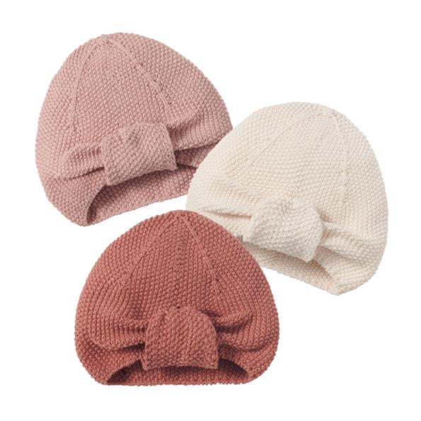 7 Baby Turban Mütze Strick Altrosa Farben