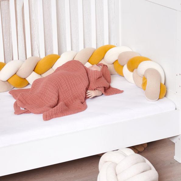 Bettschlange geflochten Trio Curry Gelb Beige Natur Baby Nestchen